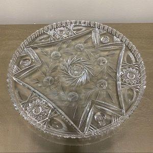 Vintage Imperlux Crystal Rose Footed Cake Plate